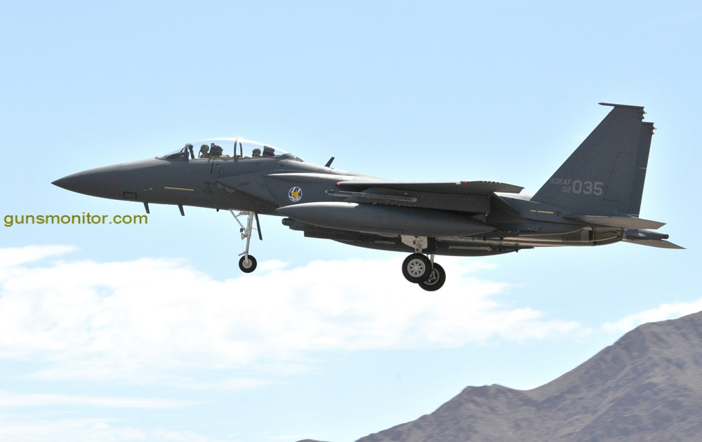 """An F-15K Slam Eagle from the Republic of Korea Air Force's 122nd Fighter Squadron arrives at Nellis Air Force Base, Nev. on 5 Aug. to participate in Red Flag 08-4. ROKAF aircraft and crews are participating in their first Red Flag exercise. Red Flag provides a peacetime """"battlefield"""" within which U.S. and allied aircrews train to fight, survive and win. (U.S. Air Force photo by Chief Master Sgt. Gary Emery)"""