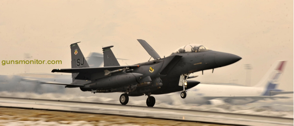 BAGRAM AIRFIELD, Afghanistan-- F-15E Strike Eagle #89-0487, lands after completing the mission that brought it's flying hours up to 10,000 at Bagram Airfield, Afghanistan, Jan. 13, 2012. #89-0487 is the only aircraft of its type to complete an air-to-air kill and is now the only F-15 to reach 10,000 flying hours. (U.S. Air Force photo/ Airman 1st Class Ericka Engblom)